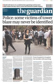 The Guardian (UK) Newspaper Front Page for 16 June 2017