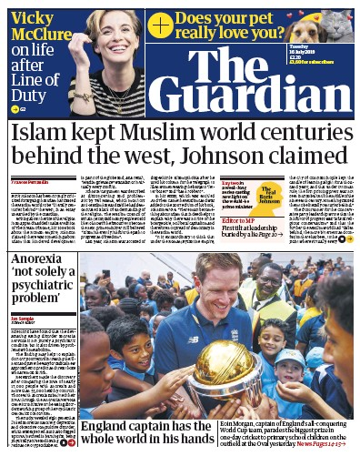 The Guardian Newspaper Front Page (UK) for 16 July 2019