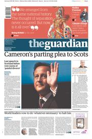 The Guardian (UK) Newspaper Front Page for 16 September 2014