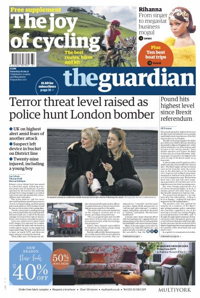 The Guardian Newspaper Front Page (UK) for 16 September 2017