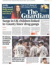 The Guardian (UK) Newspaper Front Page for 16 September 2019
