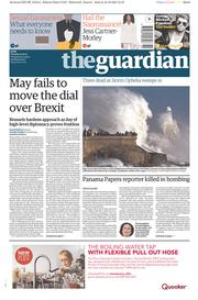 The Guardian (UK) Newspaper Front Page for 17 October 2017