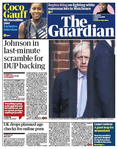 The Guardian Newspaper Front Page (UK) for 17 October 2019