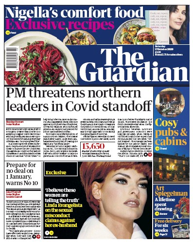 The Guardian Newspaper Front Page (UK) for 17 October 2020