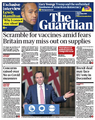 The Guardian Newspaper Front Page (UK) for 17 November 2020