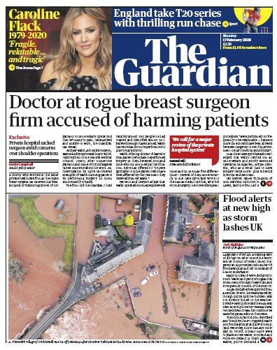 The Guardian Newspaper Front Page (UK) for 17 February 2020