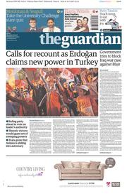 The Guardian (UK) Newspaper Front Page for 17 April 2017