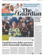 The Guardian (UK) Newspaper Front Page for 17 May 2018