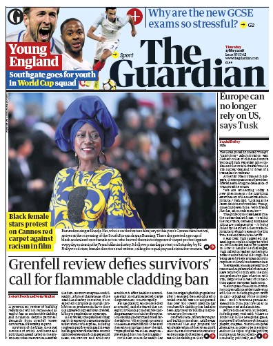 The Guardian Newspaper Front Page (UK) for 17 May 2018