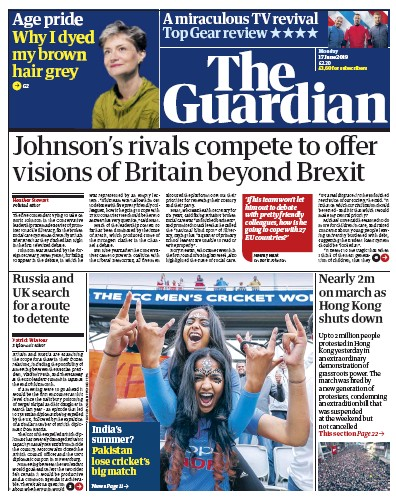 The Guardian Newspaper Front Page (UK) for 17 June 2019