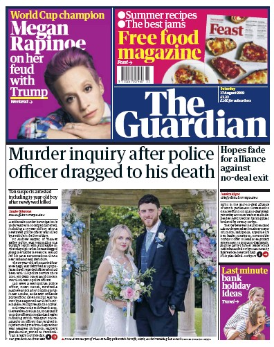 The Guardian Newspaper Front Page (UK) for 17 August 2019