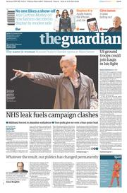 The Guardian (UK) Newspaper Front Page for 17 September 2014