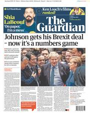 The Guardian (UK) Newspaper Front Page for 18 October 2019