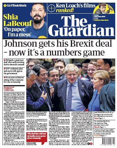 The Guardian Newspaper Front Page (UK) for 18 October 2019