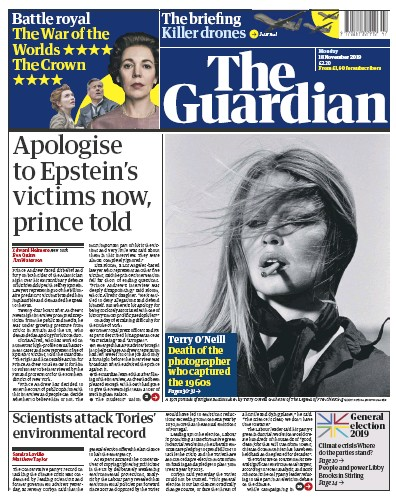 The Guardian Newspaper Front Page (UK) for 18 November 2019