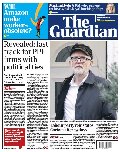 The Guardian Newspaper Front Page (UK) for 18 November 2020