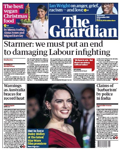 The Guardian Newspaper Front Page (UK) for 18 December 2019