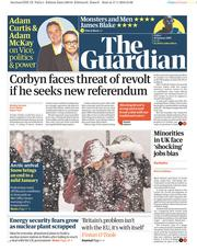 The Guardian (UK) Newspaper Front Page for 18 January 2019