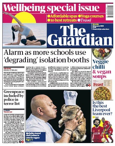 The Guardian Newspaper Front Page (UK) for 18 January 2020