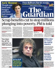 The Guardian front page for 18 January 2021
