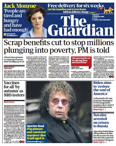 The Guardian Newspaper Front Page (UK) for 18 January 2021
