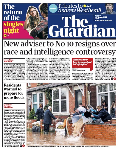 The Guardian Newspaper Front Page (UK) for 18 February 2020
