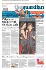 The Guardian (UK) Newspaper Front Page for 18 March 2014