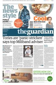 The Guardian (UK) Newspaper Front Page for 18 April 2015
