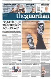 The Guardian (UK) Newspaper Front Page for 18 May 2017