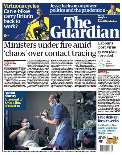 The Guardian Newspaper Front Page (UK) for 18 May 2020