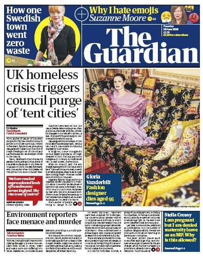 The Guardian Newspaper Front Page (UK) for 18 June 2019