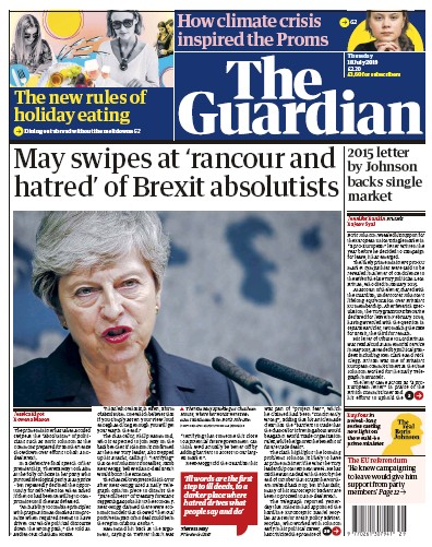 The Guardian Newspaper Front Page (UK) for 18 July 2019