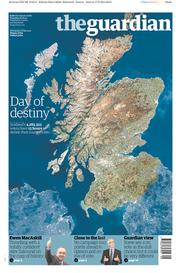 The Guardian (UK) Newspaper Front Page for 18 September 2014