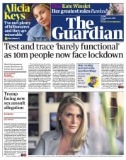 The Guardian front page for 18 September 2020