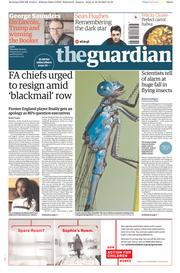 The Guardian (UK) Newspaper Front Page for 19 October 2017