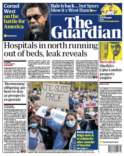 The Guardian Newspaper Front Page (UK) for 19 October 2020