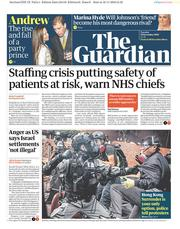 The Guardian (UK) Newspaper Front Page for 19 November 2019