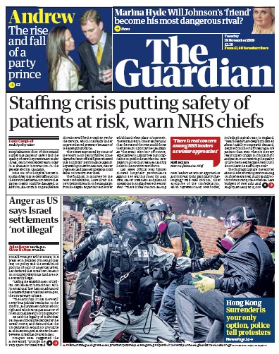 The Guardian Newspaper Front Page (UK) for 19 November 2019
