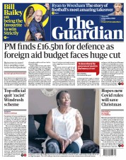 The Guardian front page for 19 November 2020