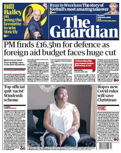 The Guardian Newspaper Front Page (UK) for 19 November 2020