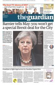 The Guardian (UK) Newspaper Front Page for 19 December 2017