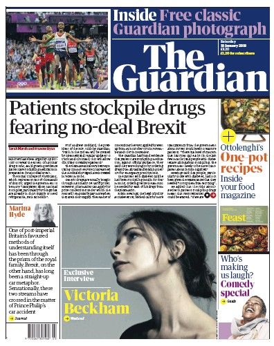 The Guardian Newspaper Front Page (UK) for 19 January 2019
