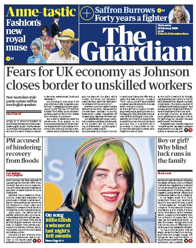 The Guardian Newspaper Front Page (UK) for 19 February 2020