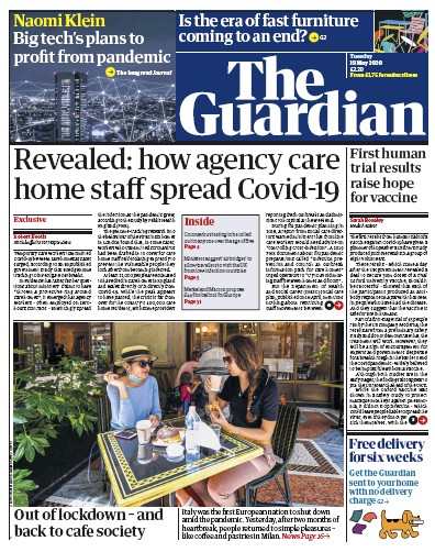 The Guardian Newspaper Front Page (UK) for 19 May 2020