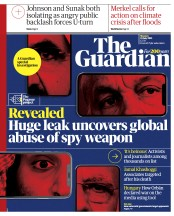 The Guardian () Newspaper Front Page for 19 July 2021