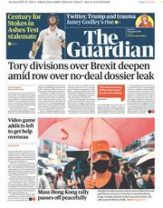 The Guardian (UK) Newspaper Front Page for 19 August 2019