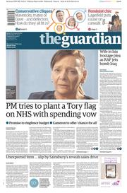 The Guardian (UK) Newspaper Front Page for 1 October 2014