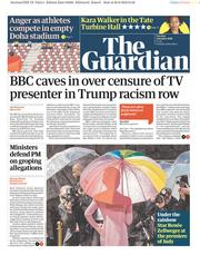 The Guardian (UK) Newspaper Front Page for 1 October 2019