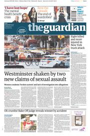 The Guardian (UK) Newspaper Front Page for 1 November 2017