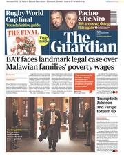The Guardian (UK) Newspaper Front Page for 1 November 2019